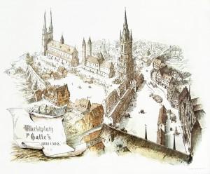 Immagine ricostruita, da Gustav Friedrich Hertzberg: Geschichte der Stadt Halle an der Saale, Band I