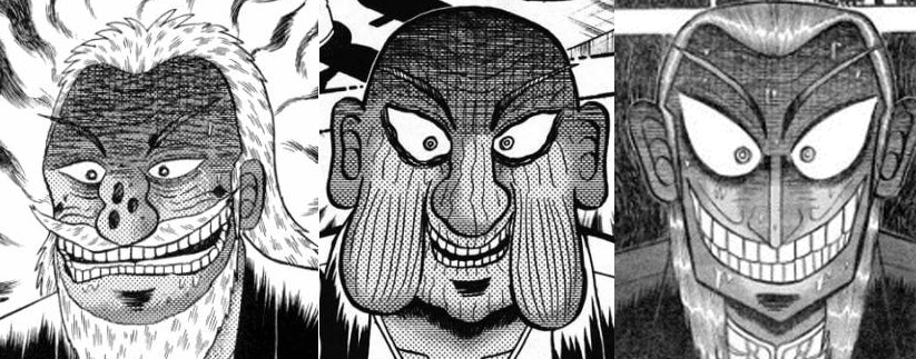 gli anziani antagonisti di Kaiji, Zero e Akagi