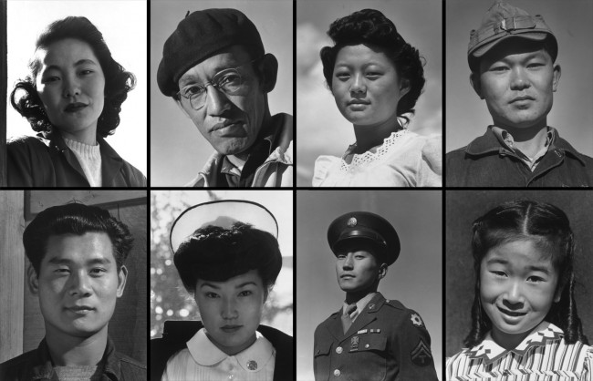 Portraits of evacuees housed in the Manzanar Relocation Center in California, taken by Ansel Adams in 1943