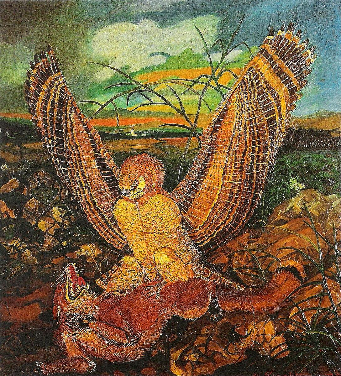 Aquila con volpe, Antonio Ligabue, 1944