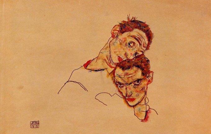 Egon Schiele, Doppio autoritratto, 1915