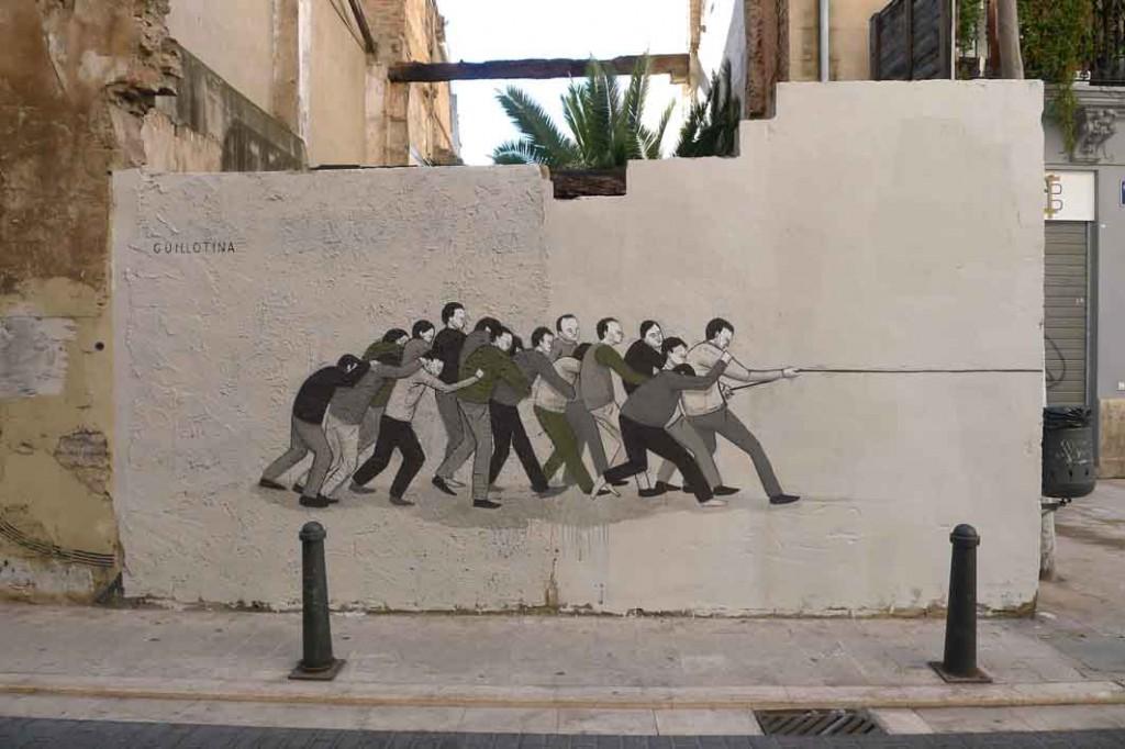 Guillotina, un'opera di Escif a Valencia, Spagna