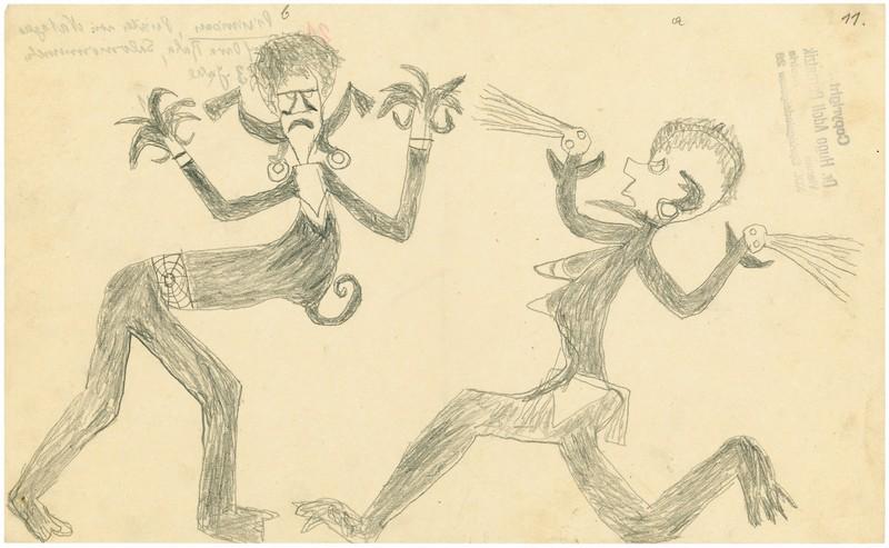 Shaman Pirinisau (Melanesia, Isole Salomone), Spiriti IV-13, 1932-1933, matita su carta 21 x 33 cm (Il Palazzo Enciclopedico, la Biennale di Venezia, 55a Esposizione Internazionale d'Arte, 2013)