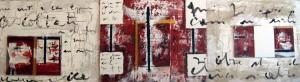 Biagio Cepollaro – Lingua-1. Dipinto su mdf, cm 40 x 150. Tecnica mista, 2010