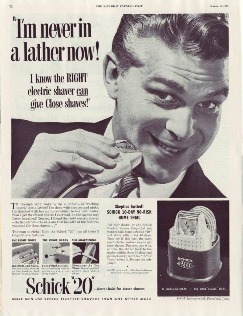 Pubblicità dei rasoi elettrici Schick, «Saturday Evening Post»,Ottobre 1953