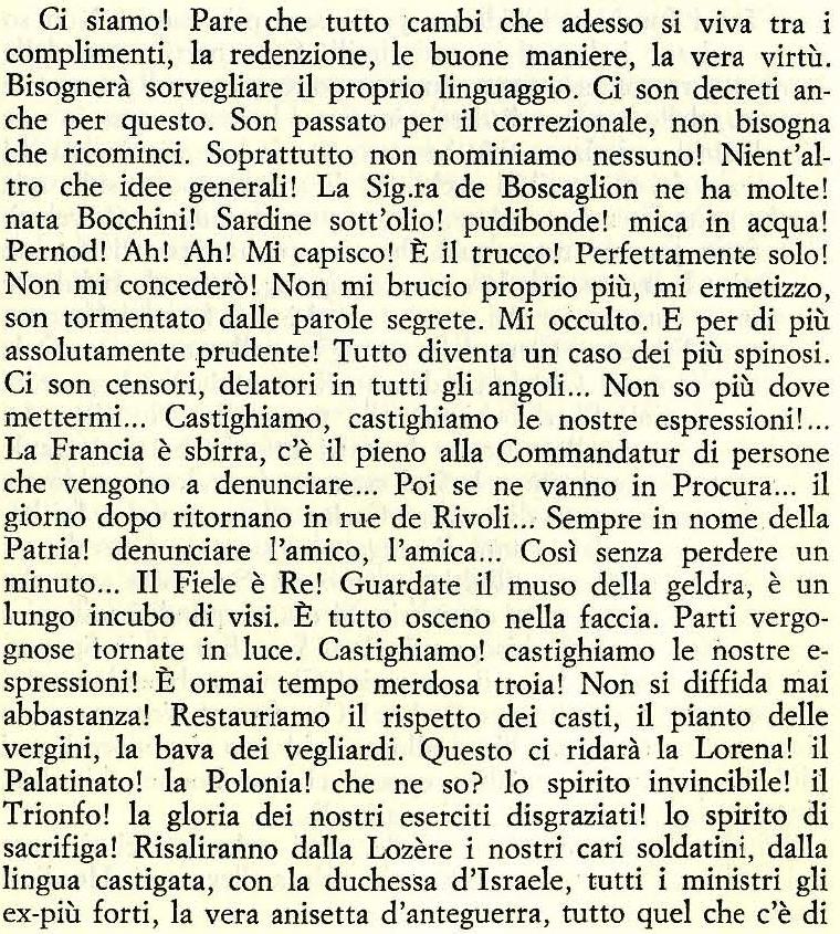 da Les beaux draps (1941) trad. Giovanni Raboni e Daniele Gorret, in Mea Culpa. La bella rogna, Milano, Ugo Guanda, Milano 1982, 201 p. [coll. Biblioteca della Fenice, 44]
