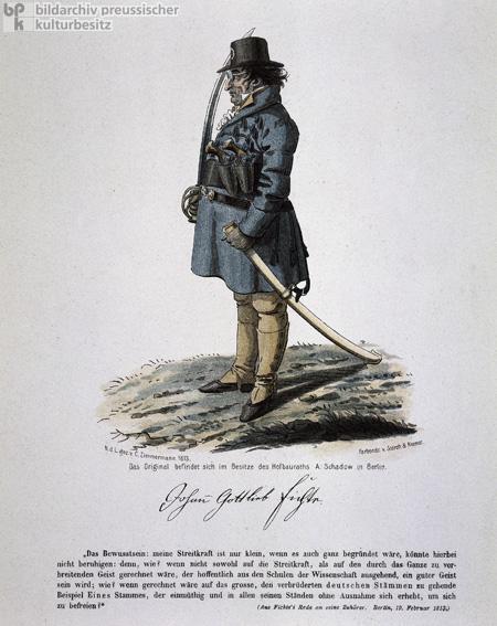 Johann Gottlieb Fichte Dressed as a Soldier (1813)