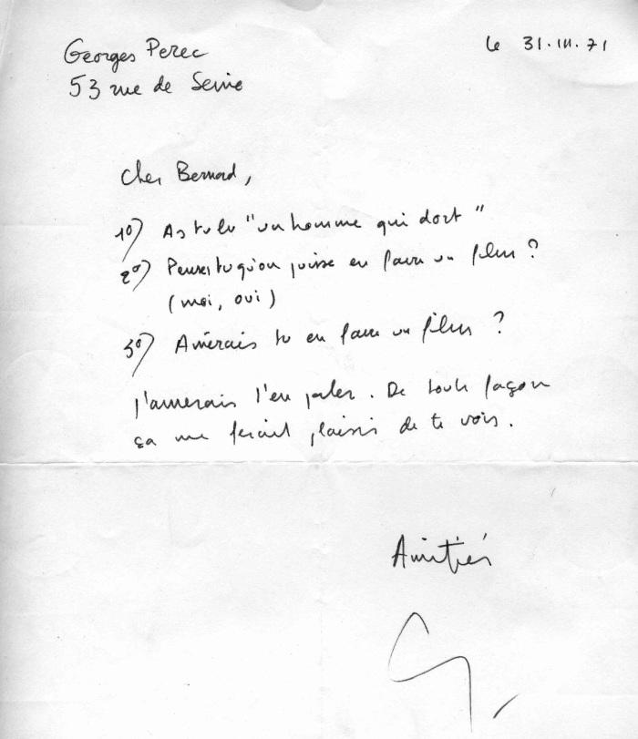 lettera Perec a Queysanne