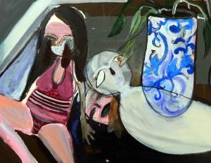 Silvia Argiolas, Ragazza di periferia con uomo tavolo 23x30,5 acrilico e tempera su carta cotone, 2015