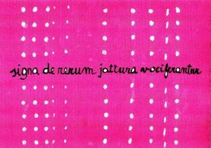Copie.l., signa de rerum jattura vociferantur, inchiostro e gesso su cartone, da KROWTEN, omaggio ad Alfio Fiorentino, Offerta Speciale, Torino 2014