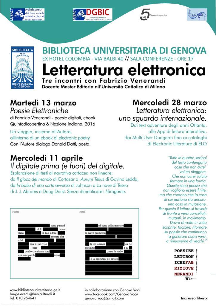 Tre incontri sulla letteratura elettronica a Genova